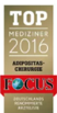 Certificate of rating of the best clinics according to Top Focus magazine